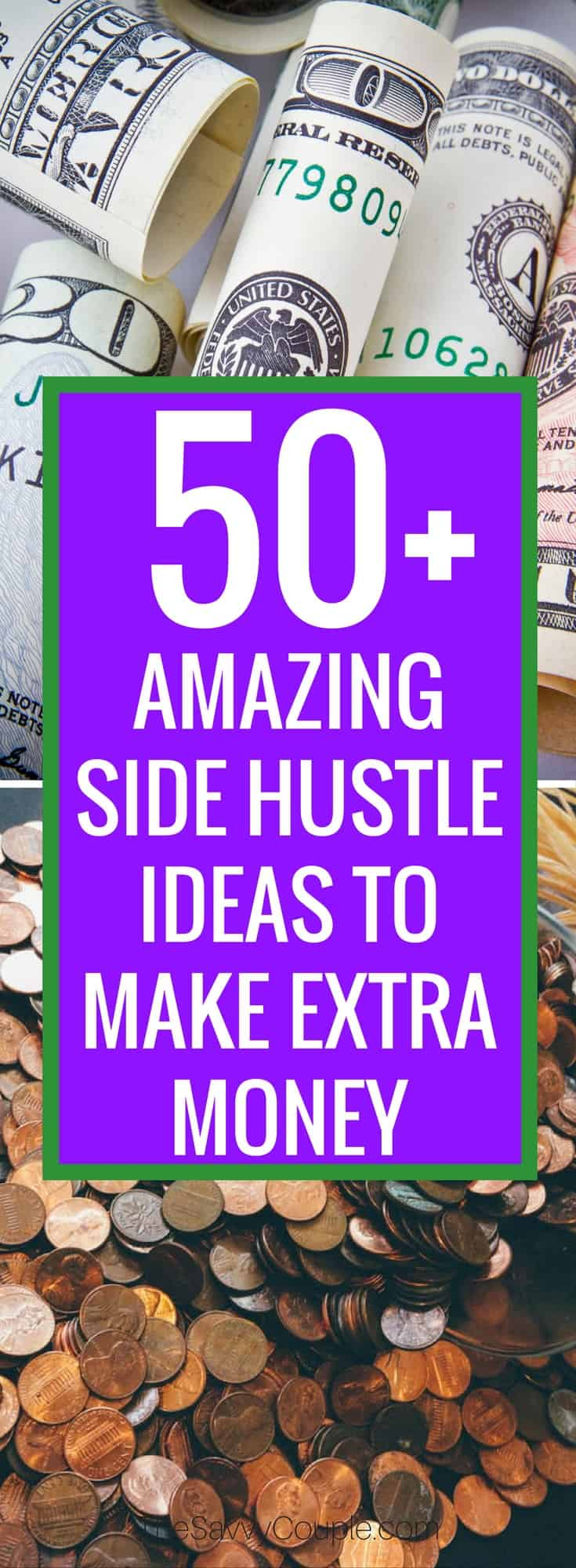 Looking for ways to earn extra money? This side hustle list has it all! From the quick buck to full-fledged startup, there is something for everyone on this list. Make Money From Home | Extra Cash | Stay At Home Mom | College Student | Entrepreneur