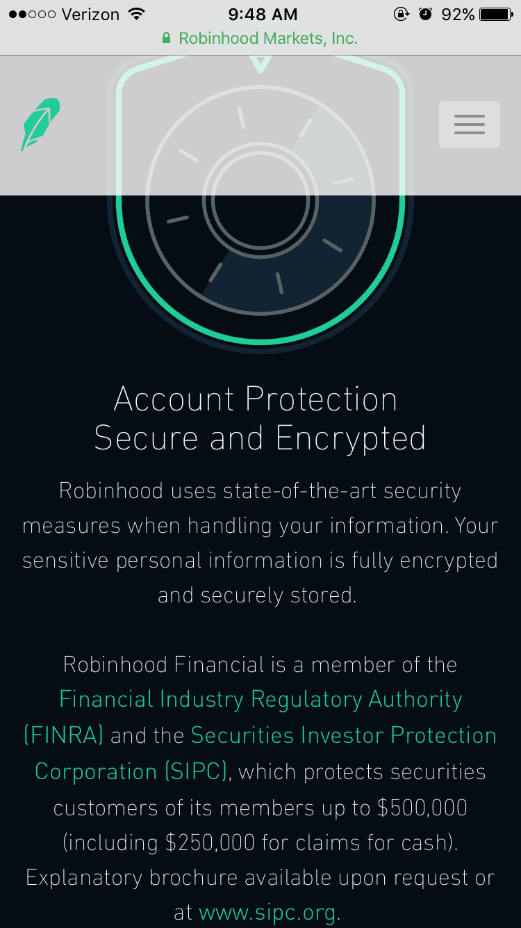 Robinhood Commission-Free Investing  Specifications