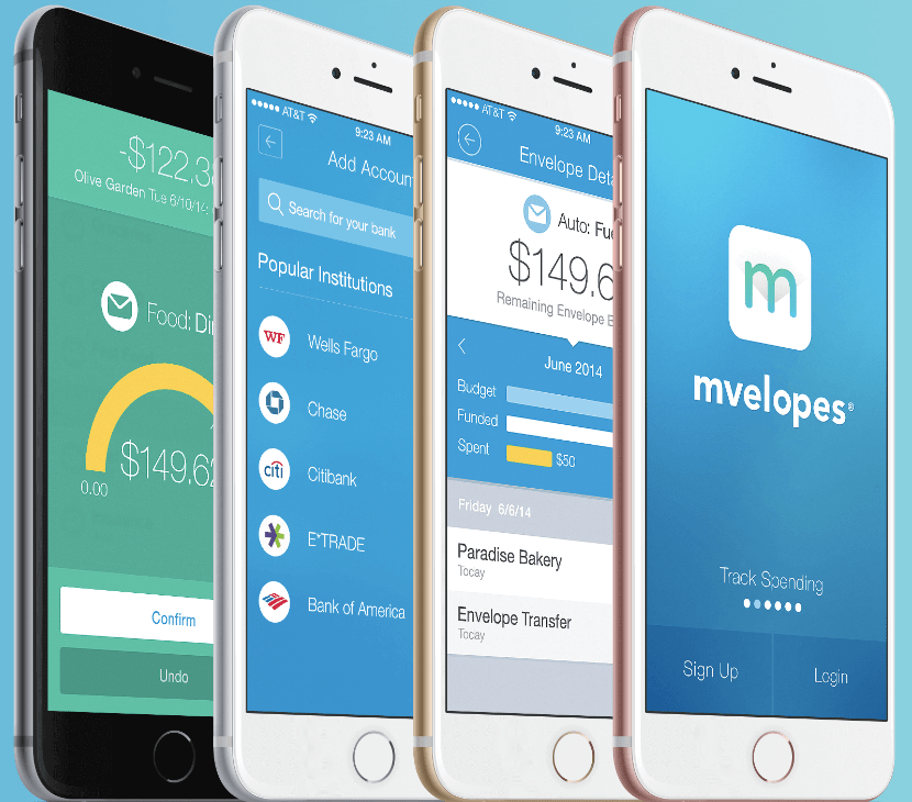 Mvelopes budgeting app screen shots on an iPhone