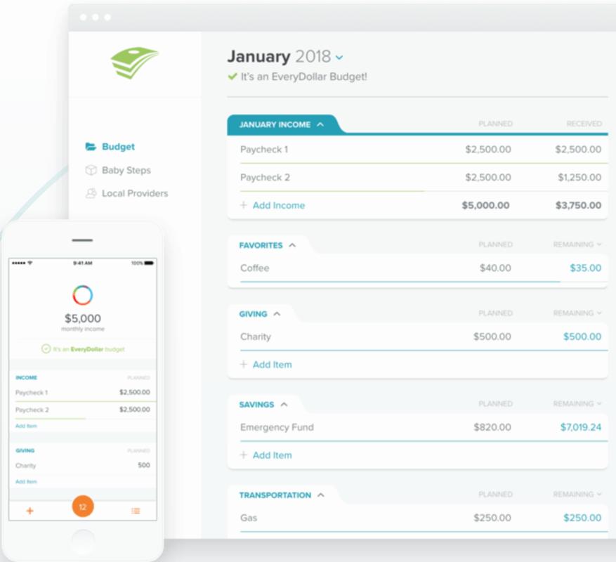 EveryDollar budgeting website and app screenshot