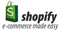 shopify logo with tagline e-commerce made easy