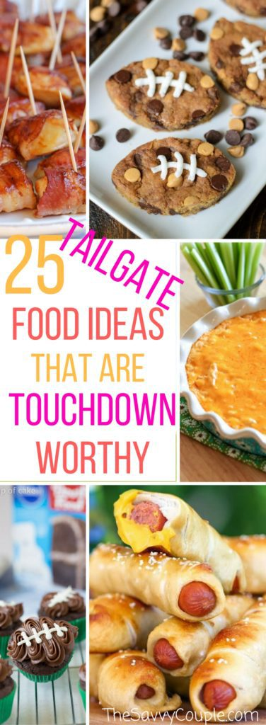25 easy tailgate foods for game day. These make ahead tailgate foods will be sure to make every fan happy! From cowboy caviar to football cupcakes this list is the best of tailgate foods on Pinterest. Desserts   Chicken meals   Appetizers   Meaty Meals   Football   Party Food