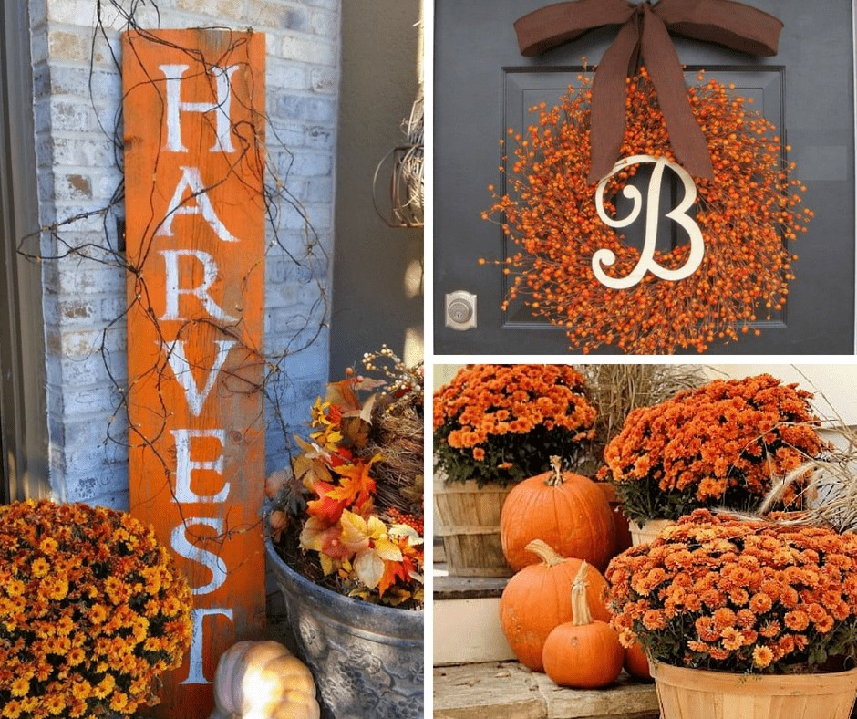 fall front porch decor ideas, harvest sign, wreath, and potted mums with pumpkins