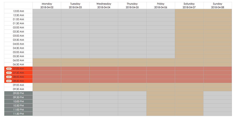sample schedule for a VIPKID teacher availability