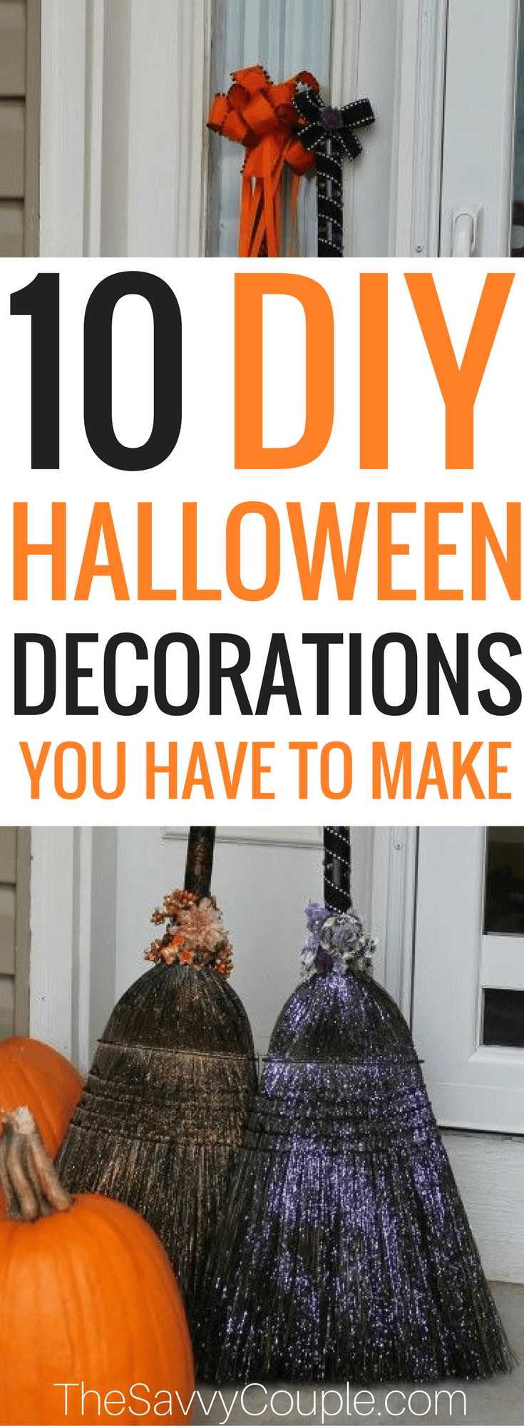 Here's a round up of 10 Halloween Decor Ideas! A list of the best DIY Halloween decor ideas using cheap supplies. Stop buying overpriced Halloween decorations and make your own for less. These Halloween decor DIY ideas are cheap and easy to make. Halloween is just around the corner. It is time to get into the Halloween spirit with some gorgeous and spooky decorations. Halloween decor | Halloween | Frugal Halloween decor | Cheap Halloween decor | DIY Halloween | The Savvy Couple