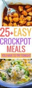 """Easy crockpot meals so you can """"set it and forget it"""" with your slow cooker. Break out the crockpot just in time for the weather changes. Place all your ingredients in the crockpot and within a few hours you can enjoy a delicious crockpot meal - you can even have dinner cook itself while you're at work! These are absolutely incredible recipes and you need to make these tonight! #crockpotmeals #slowcooker #crockpotrecipes #easycrockpotrecipes #bestofpinterest #fallcooking #easydinnerrecipes"""