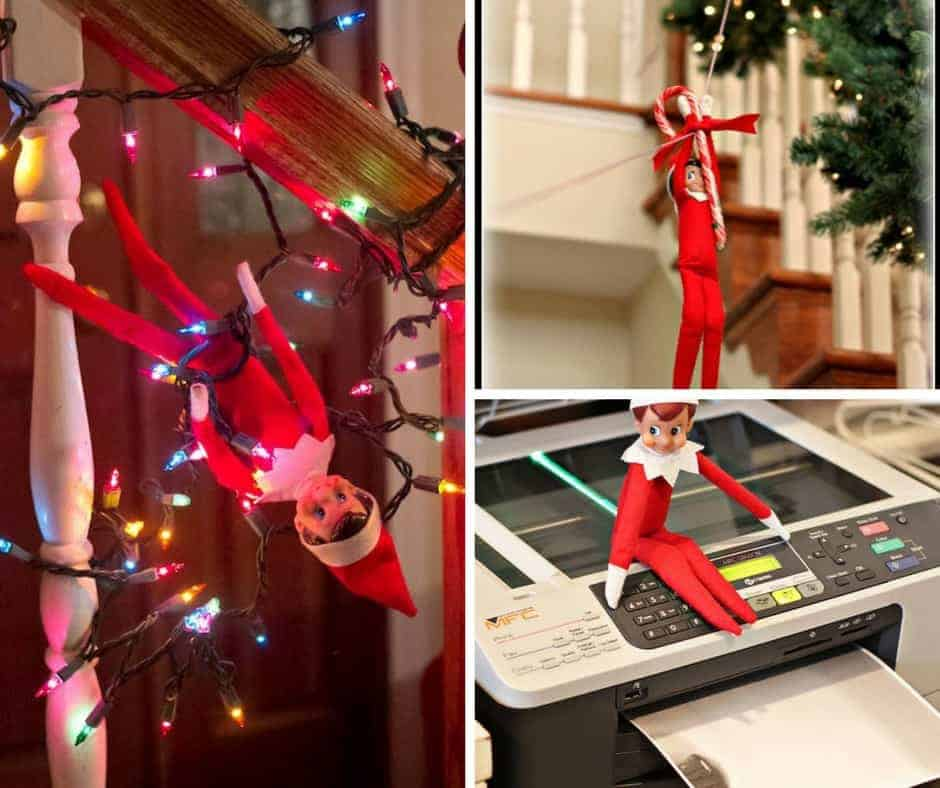 collage of elf on a shelf images showing naughty elf on a shelf ideas