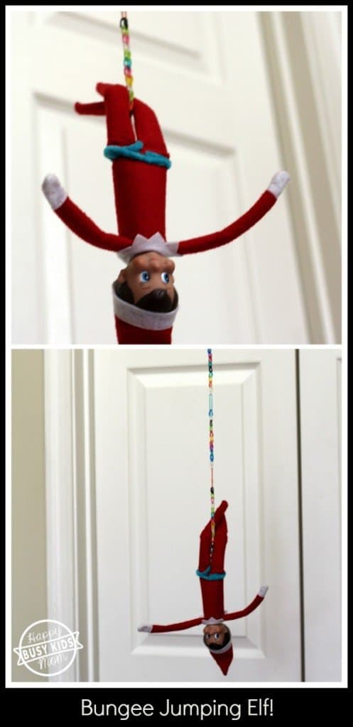 elf hanging upside down from a string bungee jumping for mischievous elf on the shelf idea
