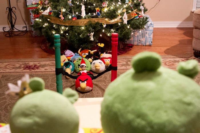 elf playing real life angry birds with angry birds toys for elf on a shelf idea for kids