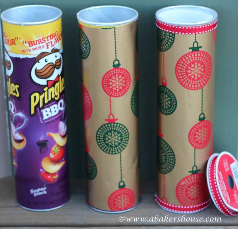 simple makeover for an empty pringles can to make a custom gift wrapping idea