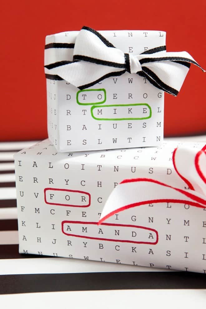 customizable printable word search style wrapping paper for a custom gift wrapping idea