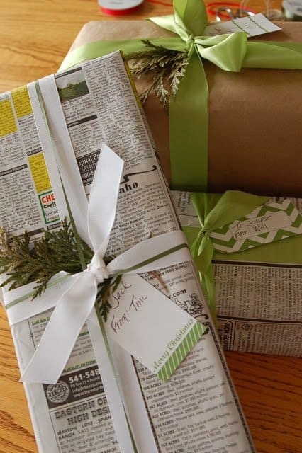 repurposed old newspaper sheets for gift wrapping ideas that are inexpensive