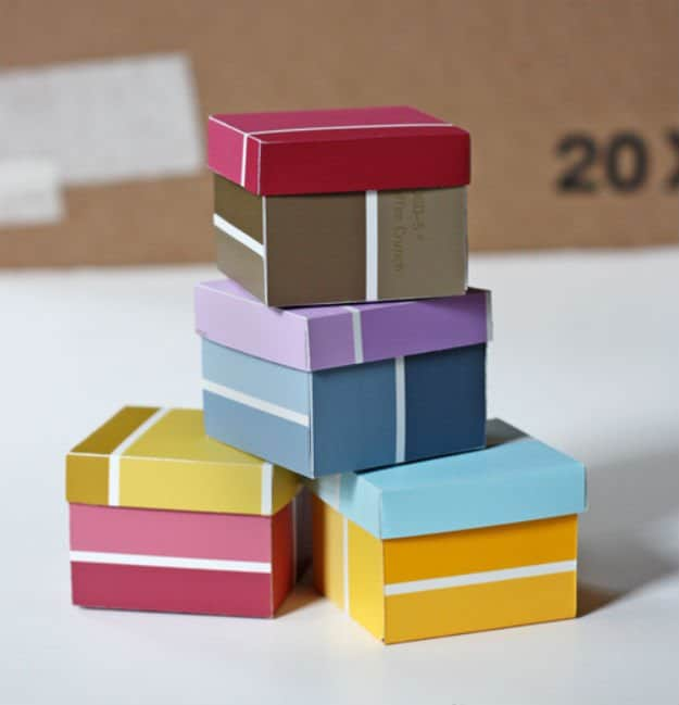 hardware store paint chips folded into custom mini gift boxes unique gift wrapping idea