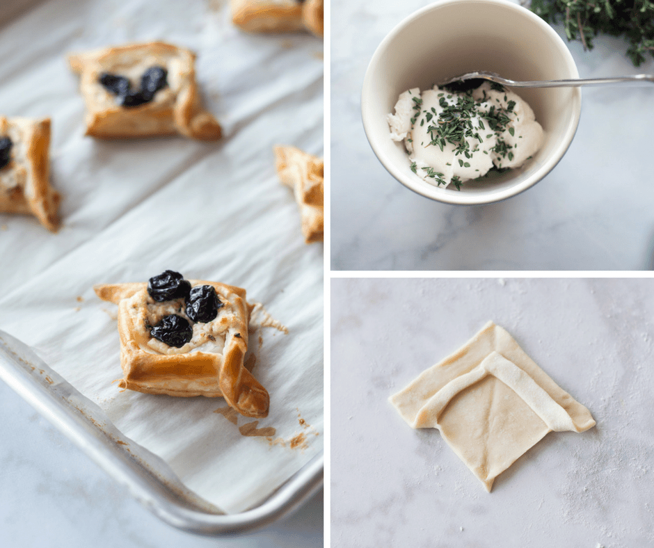 image grid of goat cheese and cherry puffs