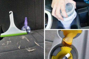 image grid of car cleaning hacks