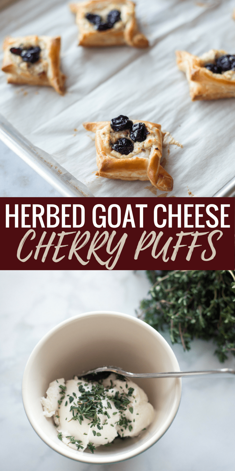 These herbed goat cheese cherry puffs are the perfect appetizer for any party! This dessert recipe is super easy and the results are INCREDIBLE! Can't wait to bake these again, pinning for later!