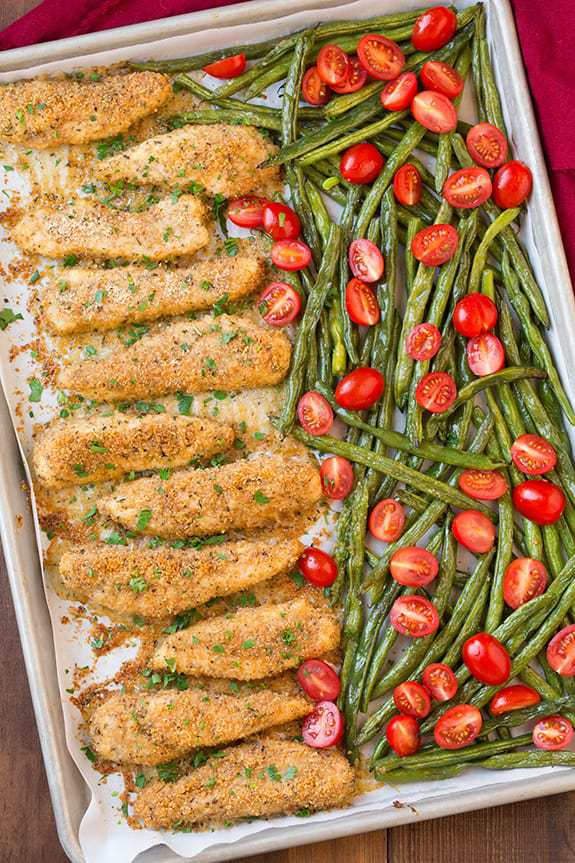 sheet pan roasted garlic parmesan chicken tenders and green beans with grape tomatoes, easy meal prep idea