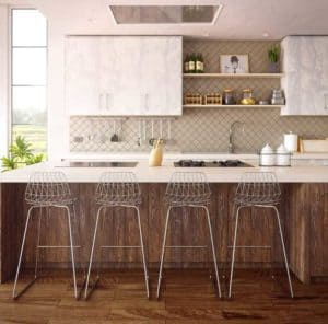 wire metal stools at kitchen island in farmhouse kitchen