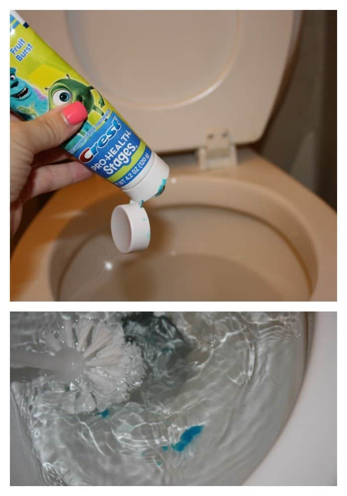 toothpaste to clean the toilet bathroom cleaning hack - Bathroom Cleaning Hacks