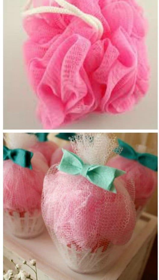 pink shower loofah wrapped in tulle with a green bow