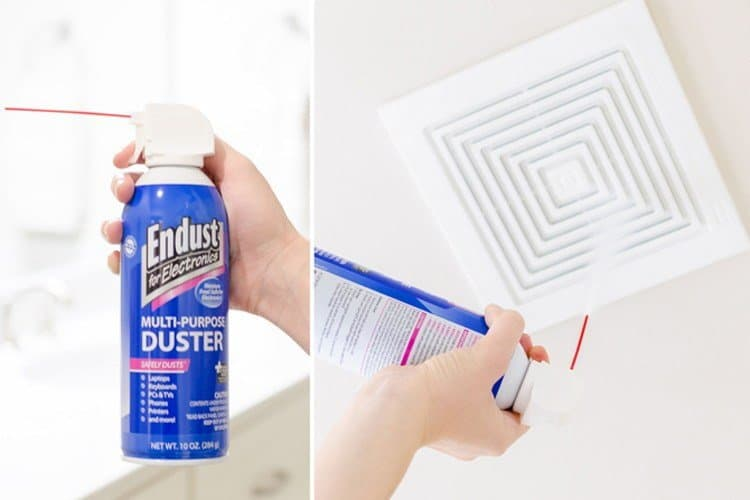 using canned air to clean a bathroom fan easy bathroom cleaning hack