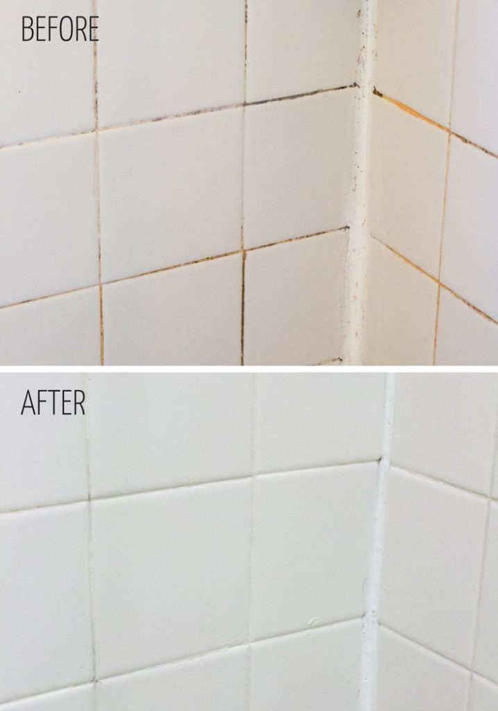before and after images of a shower wall with white tile, showing filthy grout before and clean white tile after using a bathroom cleaning hack