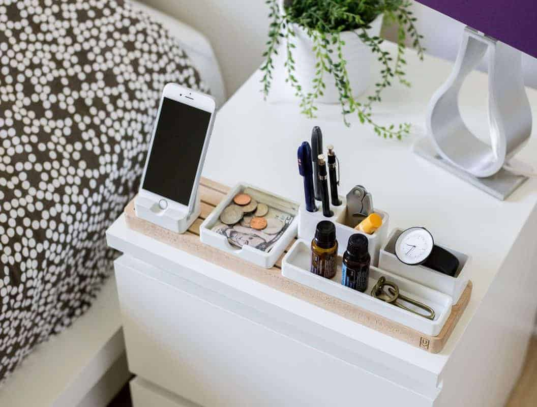 nightstand organizer with charging phone station
