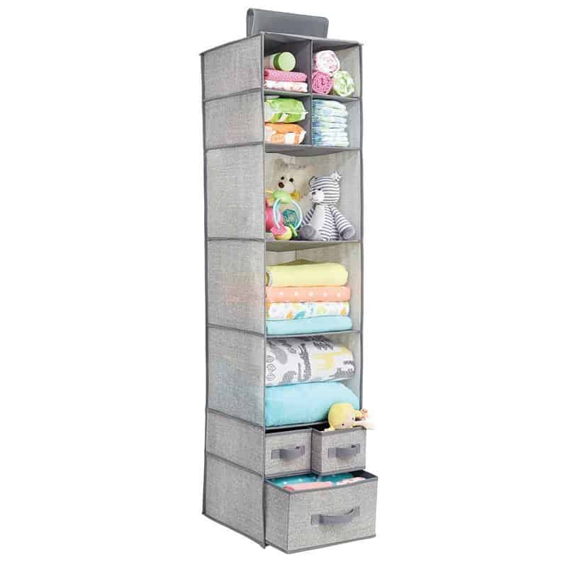 MDesign Closet Rod Hanging Storage Organizer