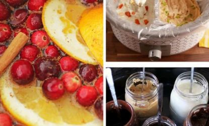 image grid showing various slow cooker hacks - diy potpourri, hot dips, and hot melted Sunday toppings in mason jars
