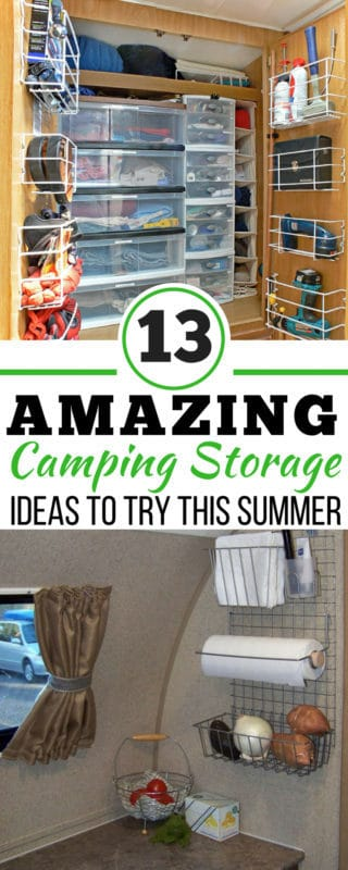 These 13 camping storage ideas are THE BEST! I'm so happy I found these AMAZING camping organization hacks! Now, whenever I need DIY camping solutions I can reference this incredible article. Definitely pinning! #organization #campinghacks #DIY #Camping #RV #HappyCamper #StorageIdeas #DollarStore #TravelTrailers #RVLiving