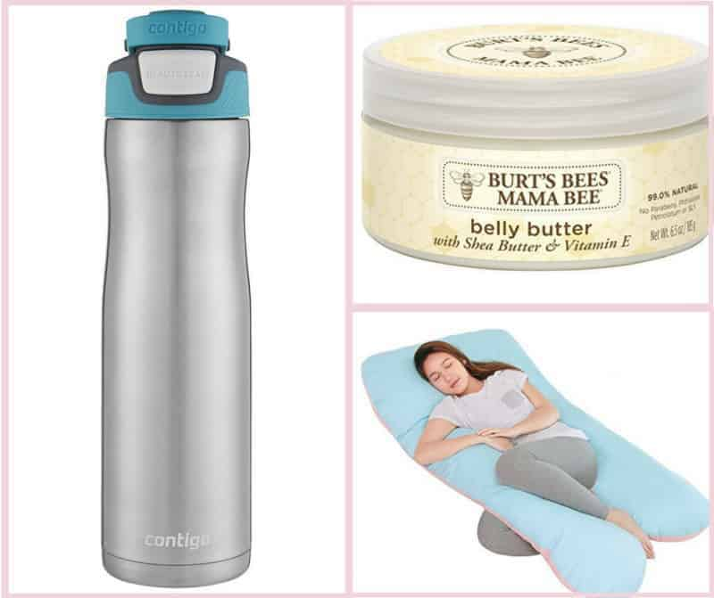 image grid of maternity products, water bottle, belly butter, comfort sleep body pillow