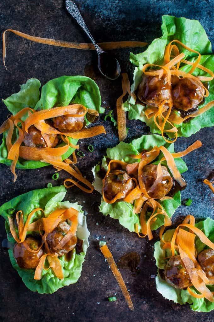 teriyaki meatball lettuce wraps