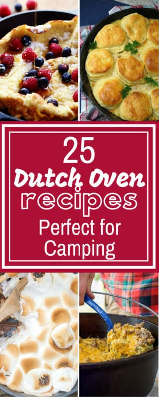 These 25 Dutch Oven Recipes are THE BEST! I'm so glad I found these AMAZING simple skillet recipes! Now whether camping or needing a recipe for a summer night I have this list to come back to. So pinning this! #camping #skillet #dinner #campfire #onepot #castiron #healthy #dessert #chicken #beef