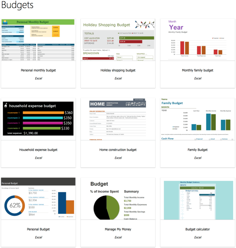 screenshot showing microsoft office budget templates options