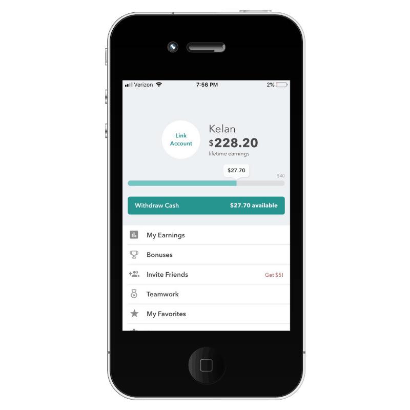 mock iphone showing earnings screenshot from cash back app