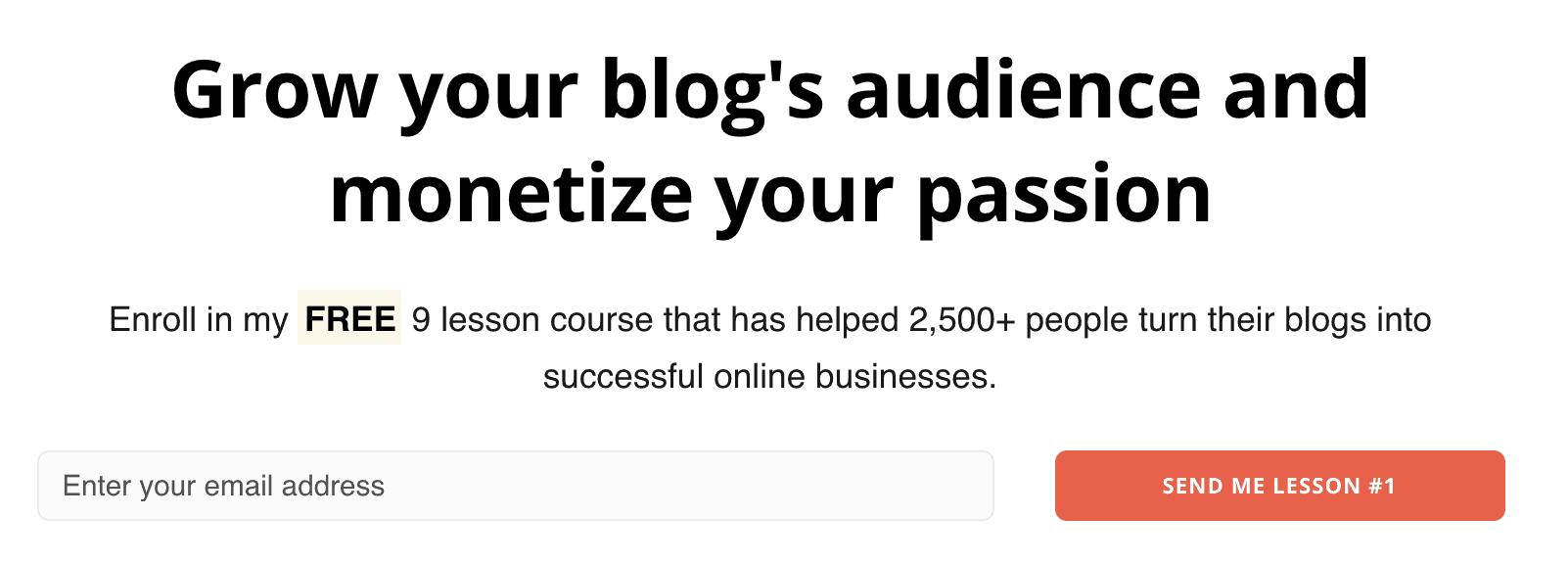 Screenshot of blogprofits.co free course enrollment landing page