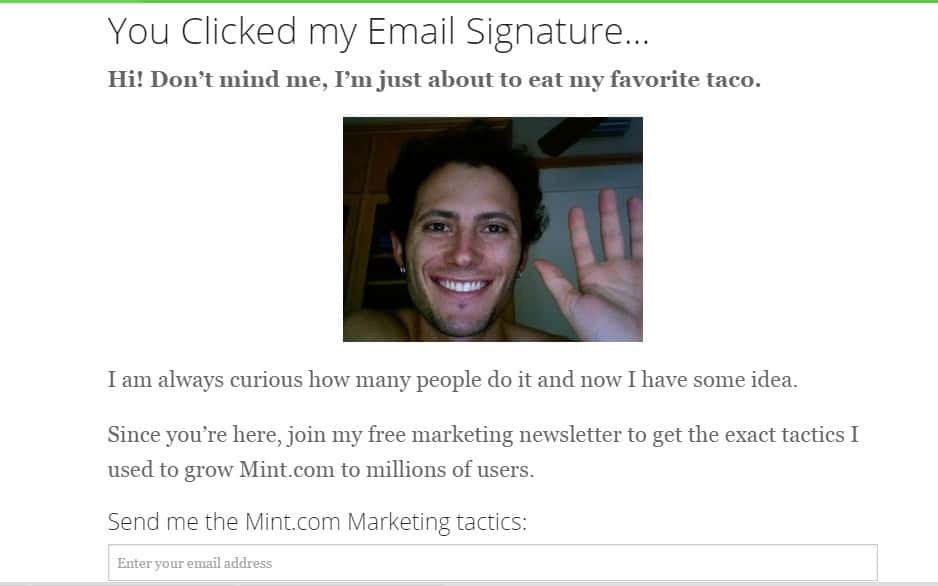 screenshot showing a landing page from an email signature link