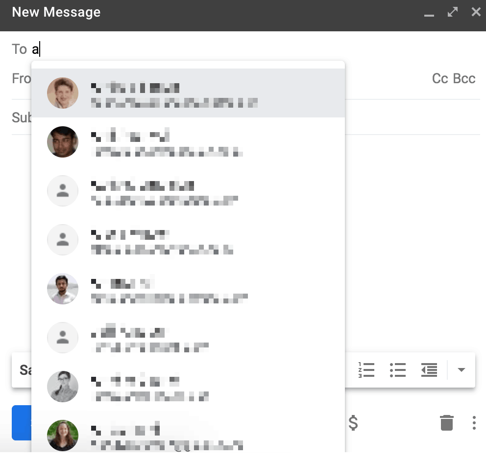 """screenshot showing how to access all gmail contacts by first letter right from the """"new message"""" window"""