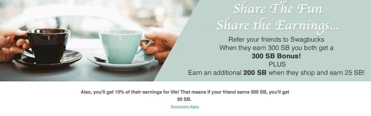 Earn money with Swagbucks by referring your friends