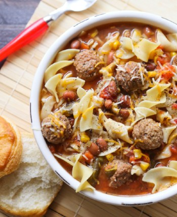 meatball soup with noodles
