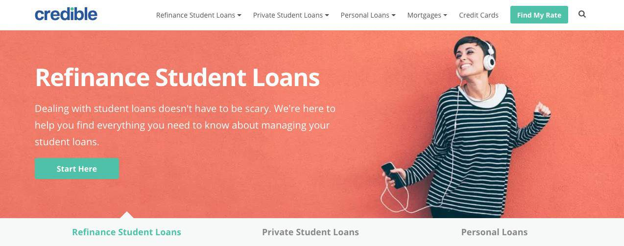 screenshot of homepage for Credible