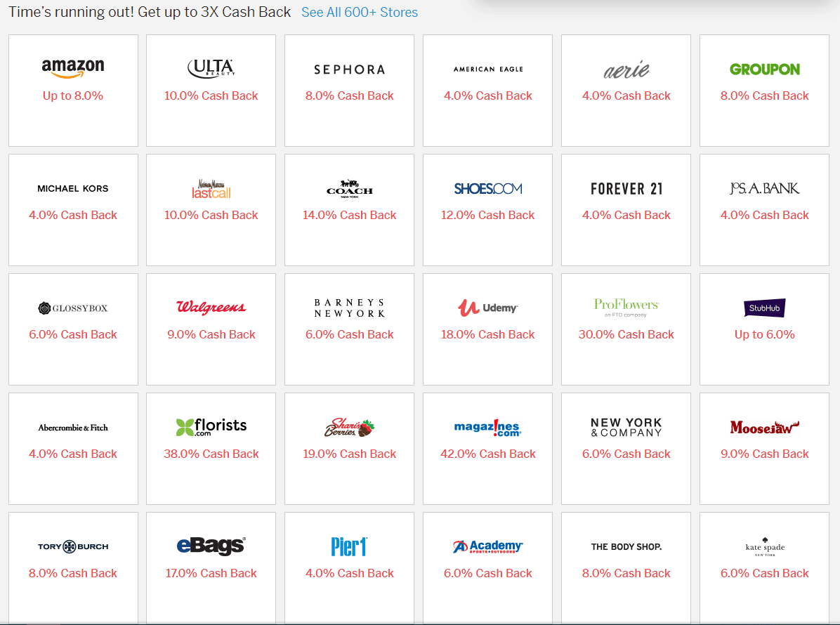 screenshot showing grid of multiple stores via ebates and their current cash back offerings