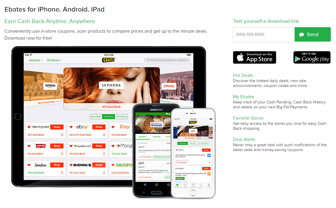 screenshot Ebates ad page for the app in the apple and google app stores