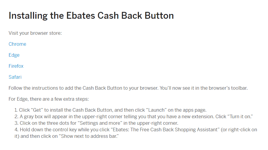 screenshot instructions for installing the ebates cash back button choose your browser screen