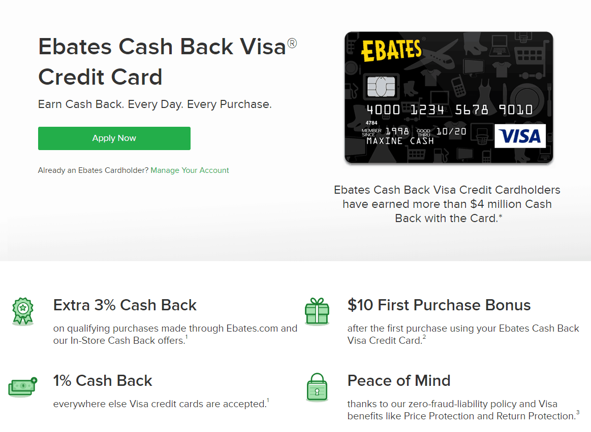 screenshot of ebates cash back visa credit card perks page