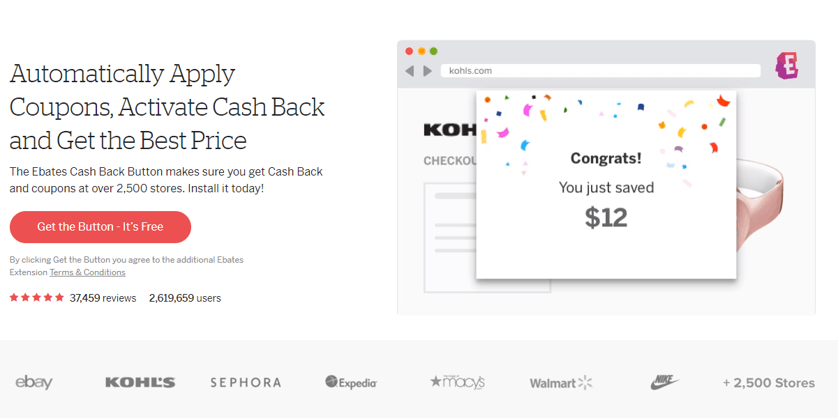 screen shot of ebates browser button splash page