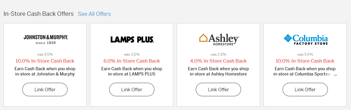 screenshot of ebates in-store cash back offers splash screen