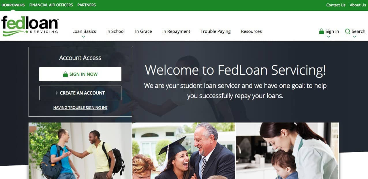 screenshot of FedLoan Servicing homepage