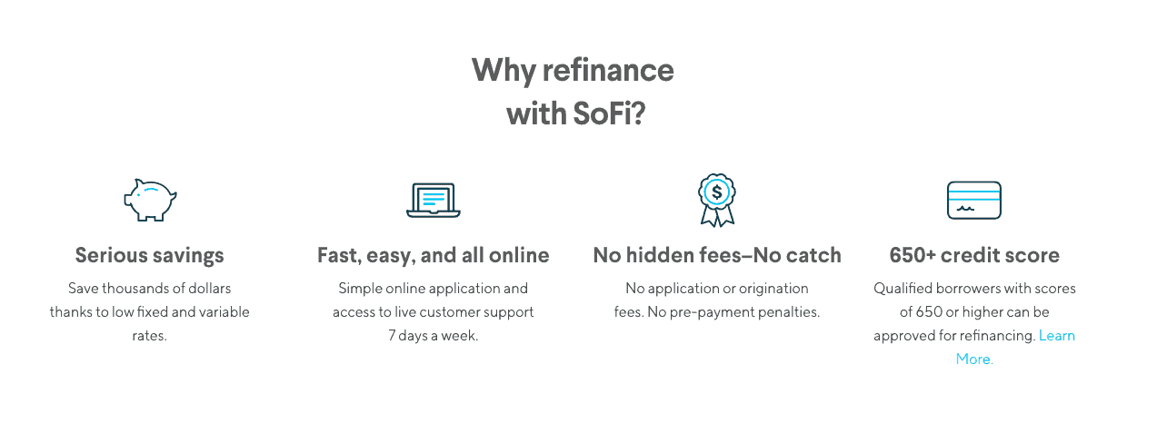screenshot of SoFi site showing reasons to refinance with SoFi