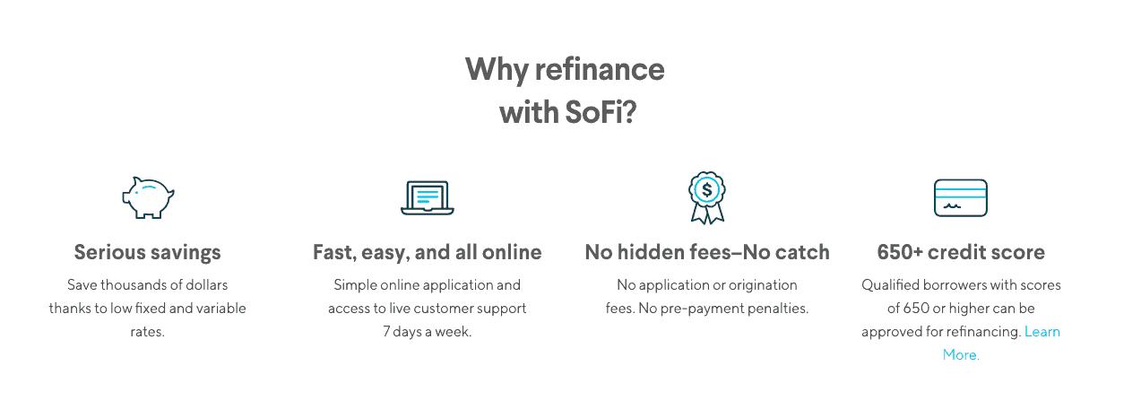 screenshot of SoFi site showing reasons to refinance with SoFi